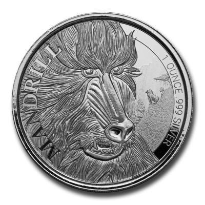 500 francs Cameroon Mandrill Ag 1 oz