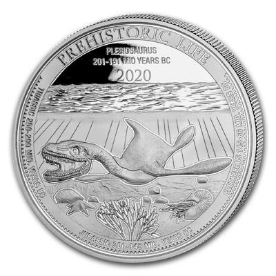 20 Francs Congo Plesiosaurus  Ag 1 oz
