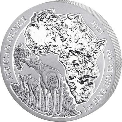 50 francs Ruanda Okapi Ag 1 oz
