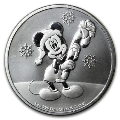 2 dollars Niue Mickey Mouse Christmas Ag 1 oz.